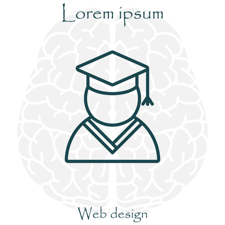 master degree: Graduation cap line icon