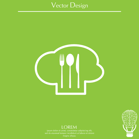 sign with chef hat and spoon, fork, knife