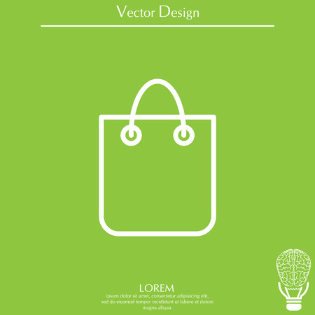 shopping bag - vector line icon Illustration