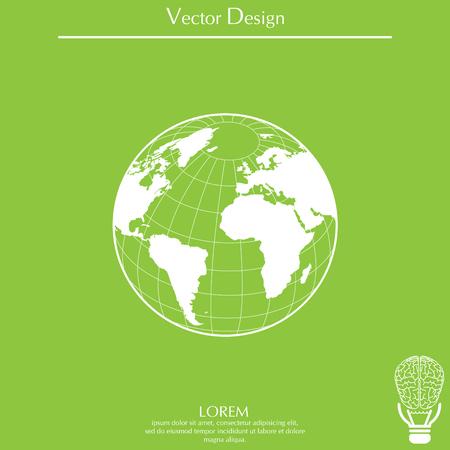 Globe icon with vector map Ilustração