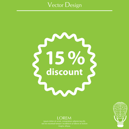 Discount fifteen (15) percent circular icon