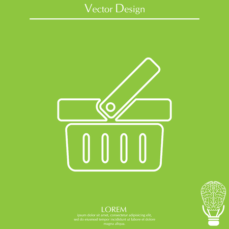 simple store: Shopping basket line icon - vector illustration