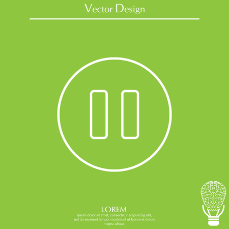 pause vector line icon Illustration