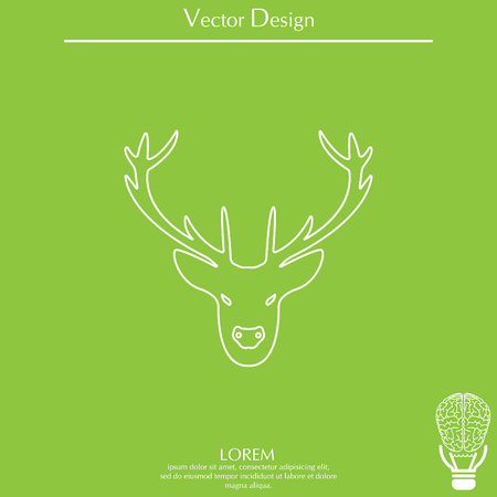 illustration of a deer head silhouette. line icon Illustration