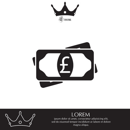 Flat icon of money (sterling) vector icon