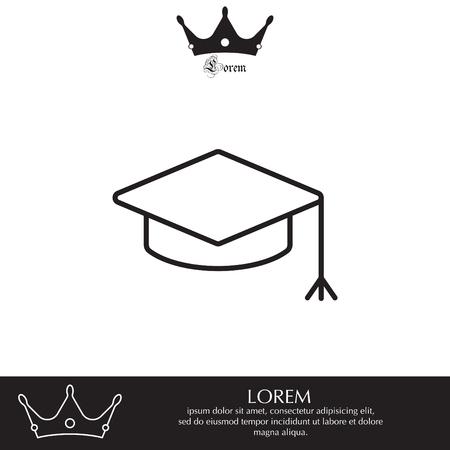 Graduation hat cap line art icon