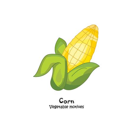 sweetcorn: Color vector illustration. Corn