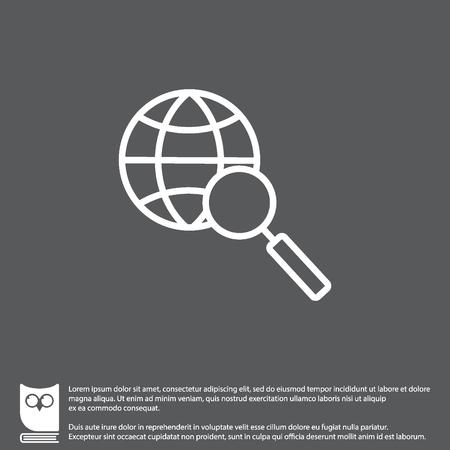 Web line icon. Globe and loupe