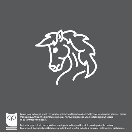 Web line icon. Horse; wild animals; livestock