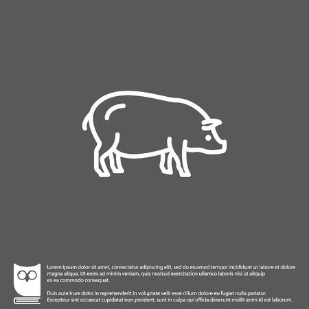 porker: Web line icon. Pig, livestock