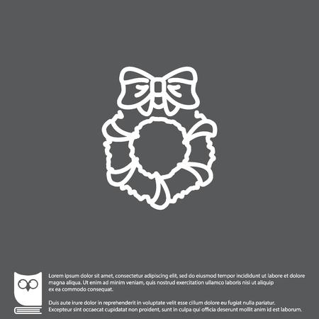Web line icon. Christmas wreath Illustration