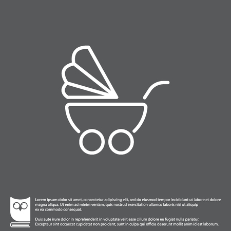 Web line icon. Baby carriage Illustration