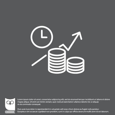 cronometro: Web line icon. Business idea; The increase in profits (profitable investment)
