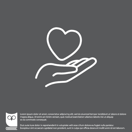 Web line icon. Heart in hand.