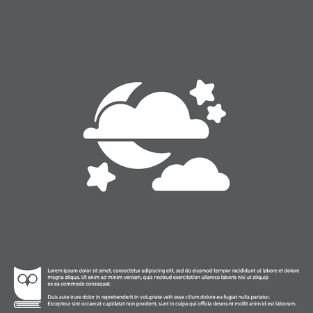 Web icon. Moon, clouds and stars. Night icon Illustration