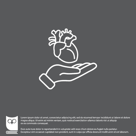 Web line icon. Human heart in hand