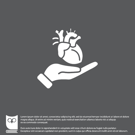 Icono de Web. Corazón humano en la mano Foto de archivo - 75382834