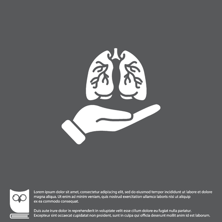 Web icon. Lungs in hand