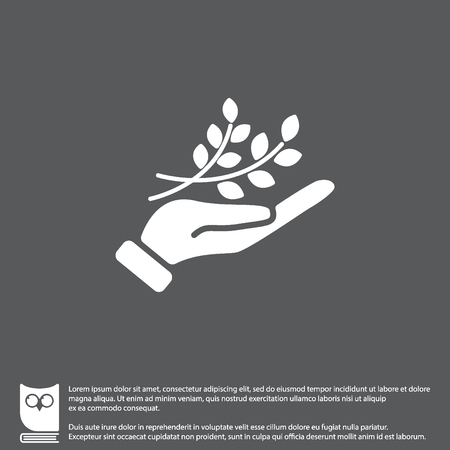 Web icon. A branch in the hand