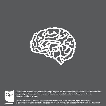 Web line icon. Human brain Illustration