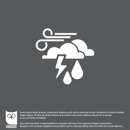 Web icon. Haze (storm), clouds, wind and rain. Thunderclouds, Windy weather