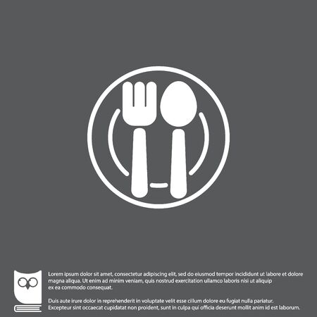 flatwares: Web line icon. Cutlery, Spoon and fork on a plate Illustration