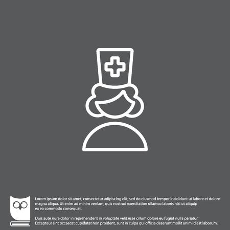 specialist: Web line icon. Female doctor, nurse Illustration