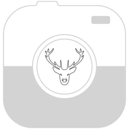 horny: illustration of a deer head silhouette. line icon Illustration