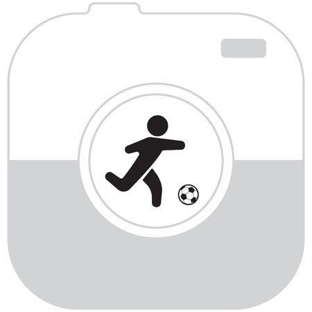 soccer field: football (soccer) player silhouette with ball