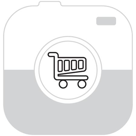 Vector shopping cart line icon