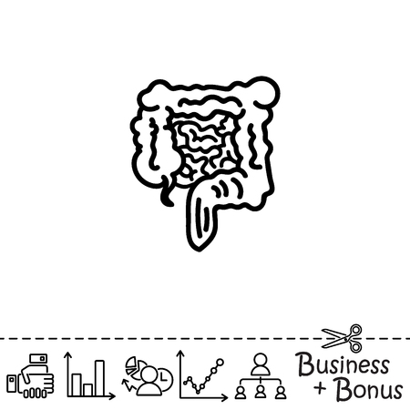 rectum: Web line icon. Intestines Illustration