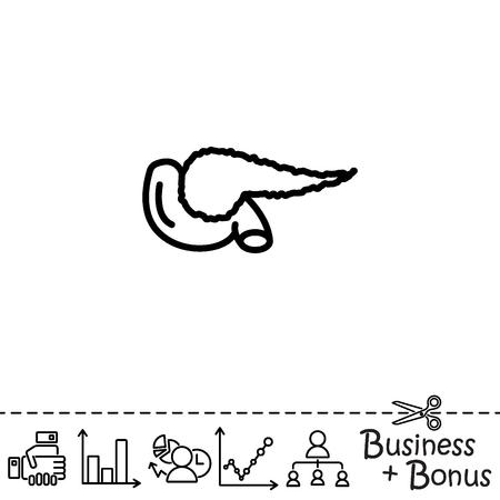 bile: Web line icon. Pancreas Illustration