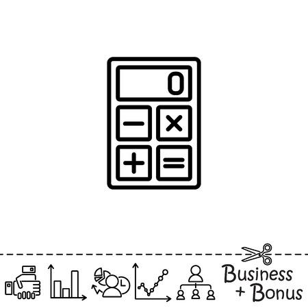 addition: Web line icon. Calculator Illustration
