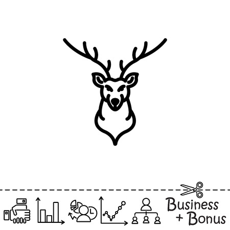 Web line icon. Deer; wild animals Illustration