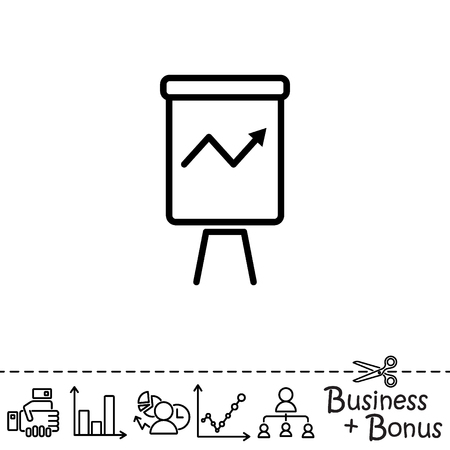Web line icon. Flipchart, graph Illustration