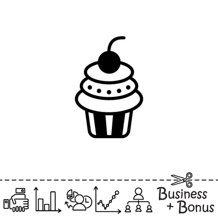 Web line icon. Cake. Birthday cake.