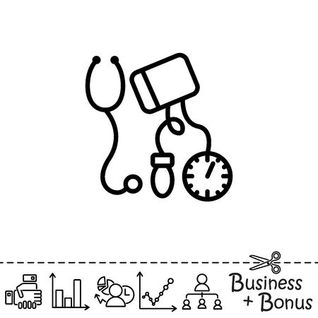 Web line icon. Tonometer. Illustration