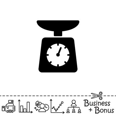 scale icon: Web line icon. Kitchen scales Illustration