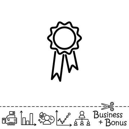 Icône de ligne Web. Médaille pour animaux, Médaille gagnante Vecteurs