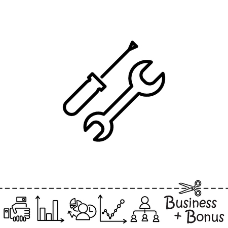 Web line icon. Wrench and screwdriver