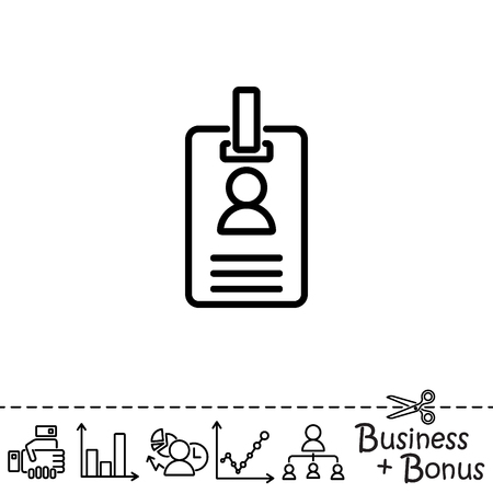 Web line icon. Business; blank id cards with clasp  (badge) Illustration