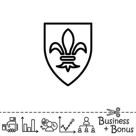 fleurdelis: Web line icon. Shield.