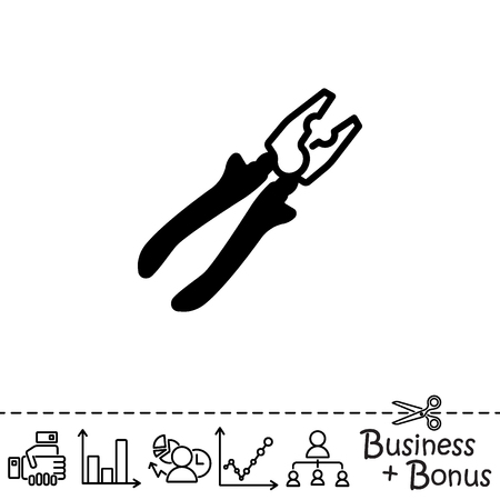 pincers: Web line icon. Pliers Illustration