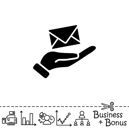 Web icon. E-mail (letter) in hand