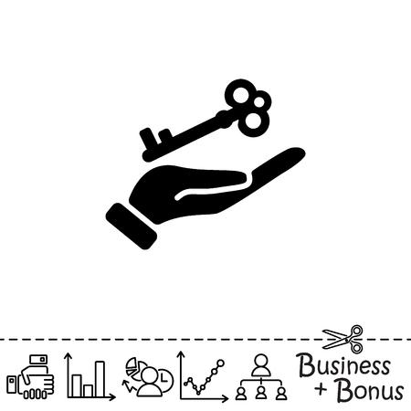 Web icon. Key in hand Illustration
