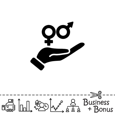 transexual: Icono del Web. Símbolo de género (símbolos de hombres y mujeres) en la mano