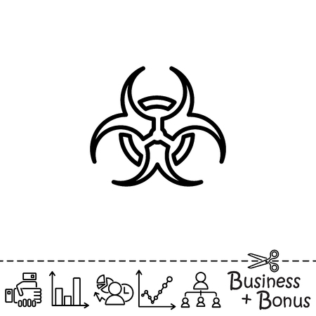 plutonium: Web line icon. Radiation hazard, biohazard