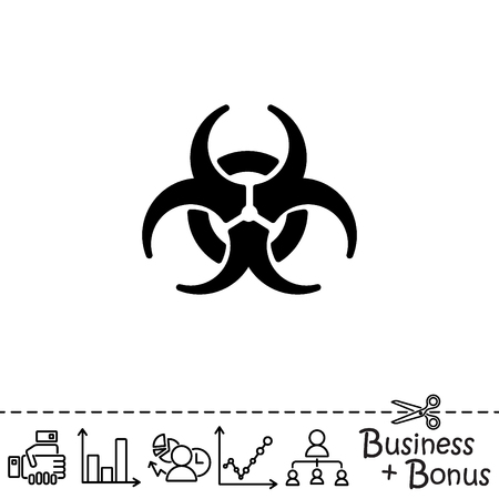 atomic symbol: Web icon. Radiation hazard, biohazard