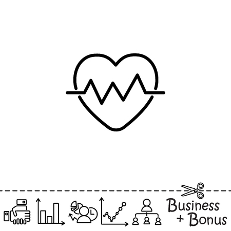 cardiograph: Web line icon. Heart cardiogram, heartbeat