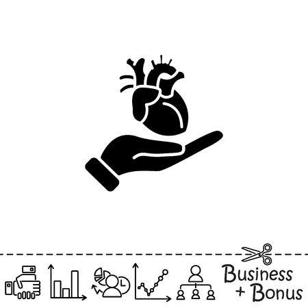 Web icon. Human heart in hand Illustration